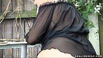 big butt milf in stockings flashing ass outdoors