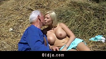 Old farmer man gets fucked by blonde babe
