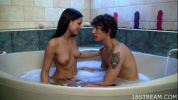 Explicit teen sex at the tub