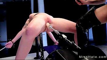 Blonde in device bondage spanked and fucks machine 6 min