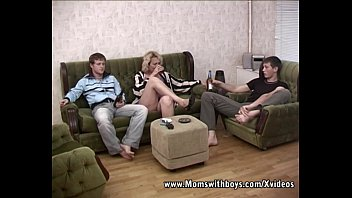 Blonde Mature Double Teamed by Young Boys