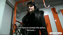 Hot Penelope gets tricked into getting fucked from behind in the public train