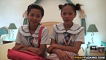 Two Asian Amateur Cuties Sharing A White Dick 5 min