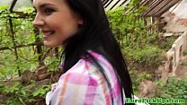 Stunning teen picked up and bent over