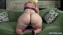 Plus-sized blonde Masseratie Monica dildos herself to orgasm