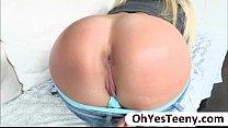 Blondie teen Payton Simmons gives erotic pleasure to a huge cock