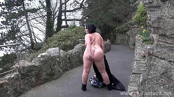 Crazy Sarahs public nudity and sexy mum flashing outdoors with chubby english am
