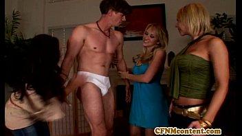 CFNM femdom Alana Evans stripping dude 8 min