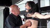 Gagged slave Honesty Cabelleros erotic domination and nipple t. of brunett