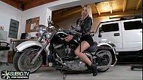 Girl in leather jacket fucked on the bike
