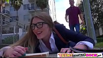 Horny teen Amber Gray adores a hard dick in her tight pussy