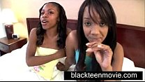 Two black teens share white boy in Ebony Threesome Teen Porn Video