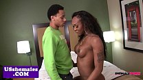 Busty black tgirl cockriding before jerking