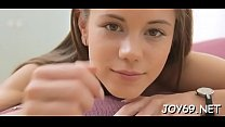 Fancy legal age teenager arranges a perverted solo play in a softcore manner