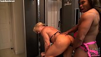 Two Female Bodybuilders Fuck With A Strap On Dildo