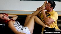 Size 8 Foot Fanatic Catherine Foxx Strokes Cum Shooting Cock