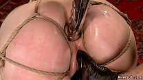 Wet pussy and ass slave gets toyed