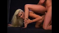 Salacious blonde giving a blowjob after getting her anal screwed