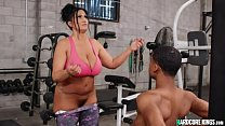 Young black fucks huge tits MILF at gym