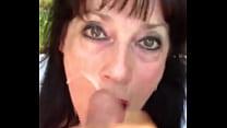 Mature woman takes a facial