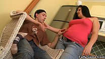 Chubby lady picks up and pleases an teen dude
