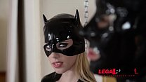 Latex cat suit Nesty dominates BDSM lover Lucy Heart in femdom threesome GP619