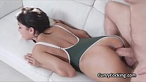 Oiled and curvy Latina perfection drilled in swimsuit