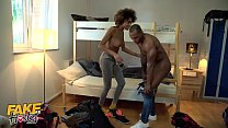 Fake Hostel Petite teens first big black cock threesome with ebony couple