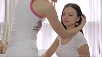 Two cute bi-curious teen girls tenderly kiss and pet each other's pussies