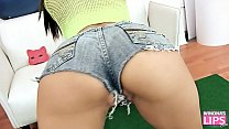 Most AMAZING body brunette TEEN in Tight Denim Shorts and Cameltoe Perfection