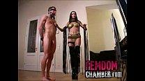 Dominatrix trains her male slave