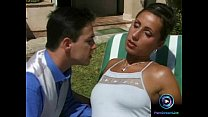Sexy brunette enjoys getting fucked under the heat outdoors