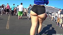 Candid -  Spicy Pawg in Hotpants showing her Underbun