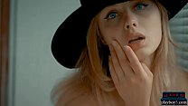 Teen blonde with a great ass and a black hat gets naked