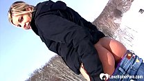 Hot stepmom shows tits and pees in snow