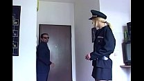 Blonde in uniform fucking in black stockings
