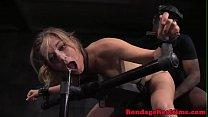 Bondage submissive spitroasted by maledoms