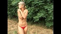 Blond with hairy pussy goes fuck camping