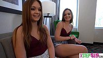 Twin stepsisters totally play their hung stepbrother