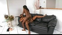 Ebony dykes play with strapon