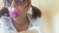 baby girl with dummy wanna learn to SUCK