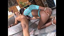 Chocolate slut Silky Black loves to take it straight from the ass in the living room