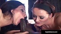 Sophie Dee & Luscious Lopez have an interracial threesome!