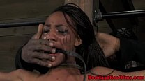 Nubian sub restrained and spanked