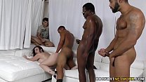 Sara Jay gets ganbanged by black dudes in front of her son