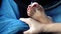 Foot Fetish! Gorgeous Asian playing with my cock. Beautiful feet and toes!