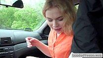 Russian teen hitchhiker giving blowjob in car