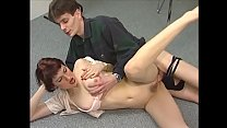 Dirty redhead secretary Tanja giving head and getting rimmed instead of coffee on her working table