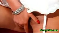Dirty Chick In White Double Penetrated
