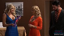 Shark tank parody becomes hot threesome on the set